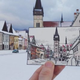 Slovakia on drawings of a backpacker