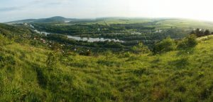 View from the viewpoint over Morava and Austria